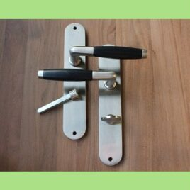 Retro deurkruk langschild | mat | wc | per set