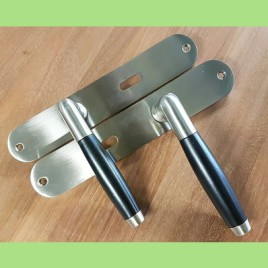 Retro deurkruk langschild | mat | sleutelgat | per set